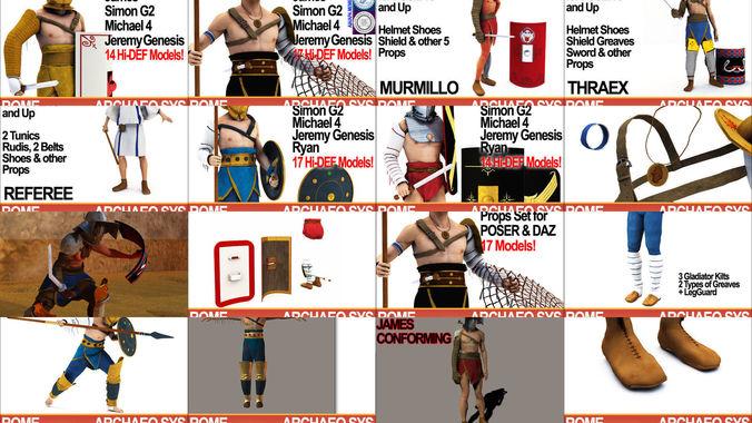 ancient rome gladiators collection 3d model obj mtl 3ds c4d dxf vue pz3 pp2 1