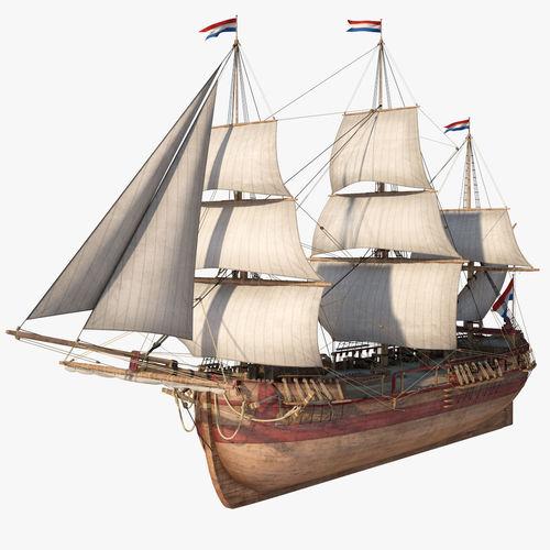 dutch galiot with sails  3d model max obj mtl fbx 1