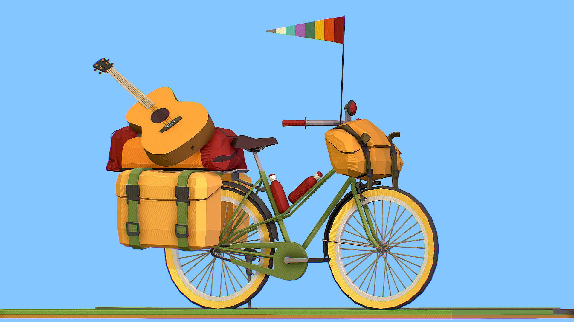isometric art lowpoly model tourist bike ride
