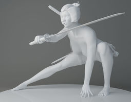 HD Naked Japanese classical female warrior 3D print model