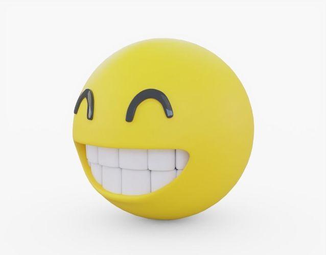 emoji happy 3d model obj mtl 3ds fbx stl 1