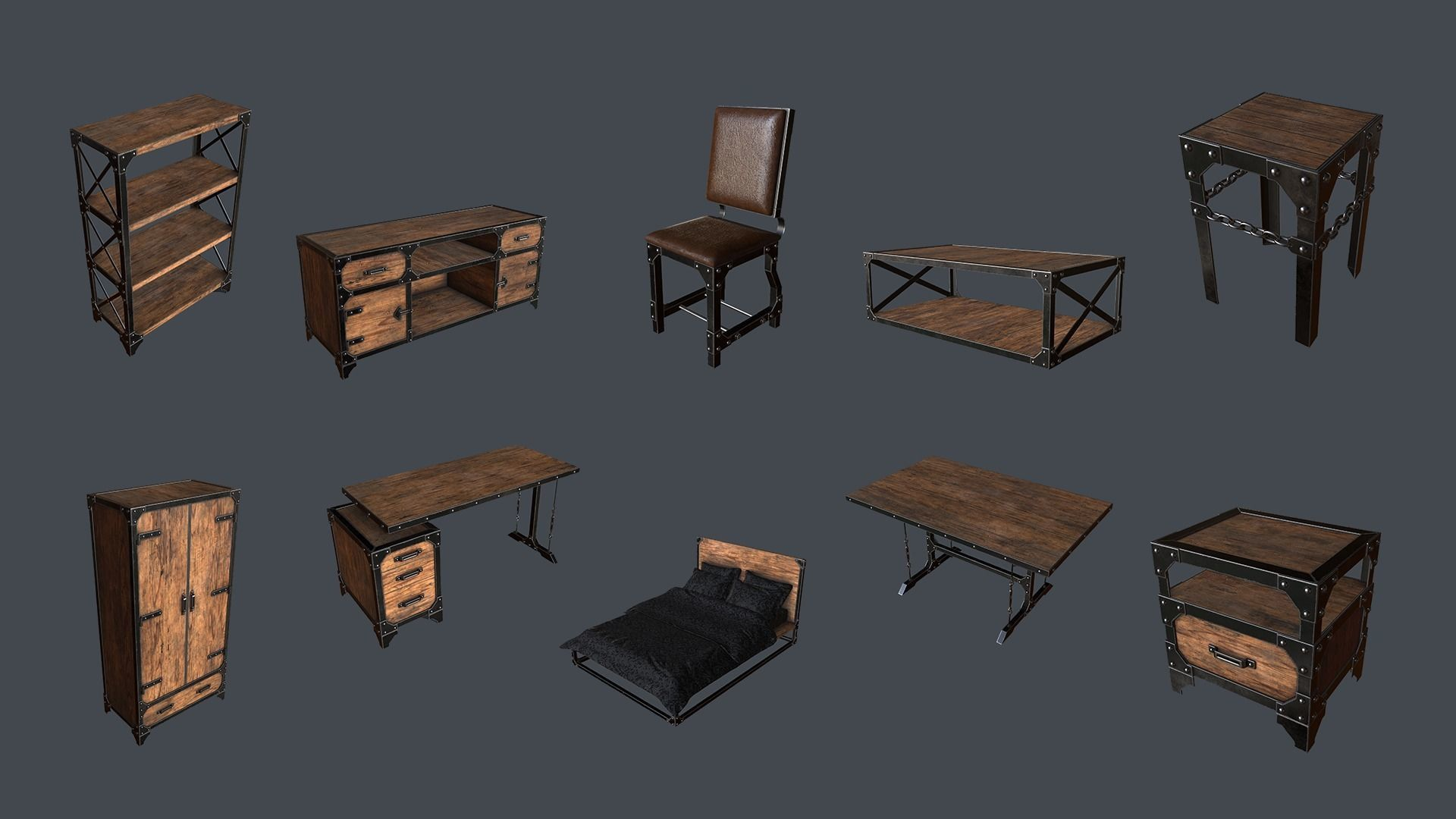 Industrial Style Furniture 3d Model Cgtrader