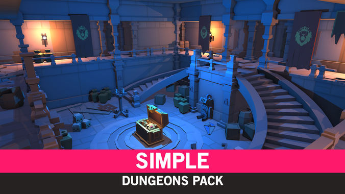 simple dungeons - cartoon assets 3d model low-poly obj mtl fbx ma mb unitypackage prefab mat uasset 1