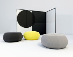 3D model furniture Chair pouf and folding screen