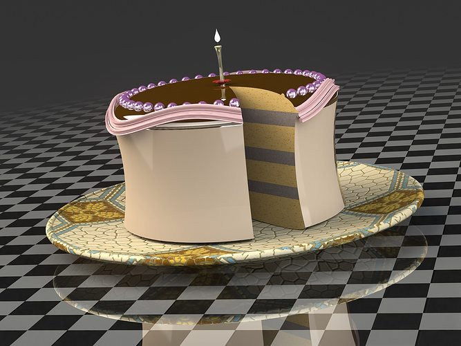 Piece Birthday Cake 3d Model Cgtrader