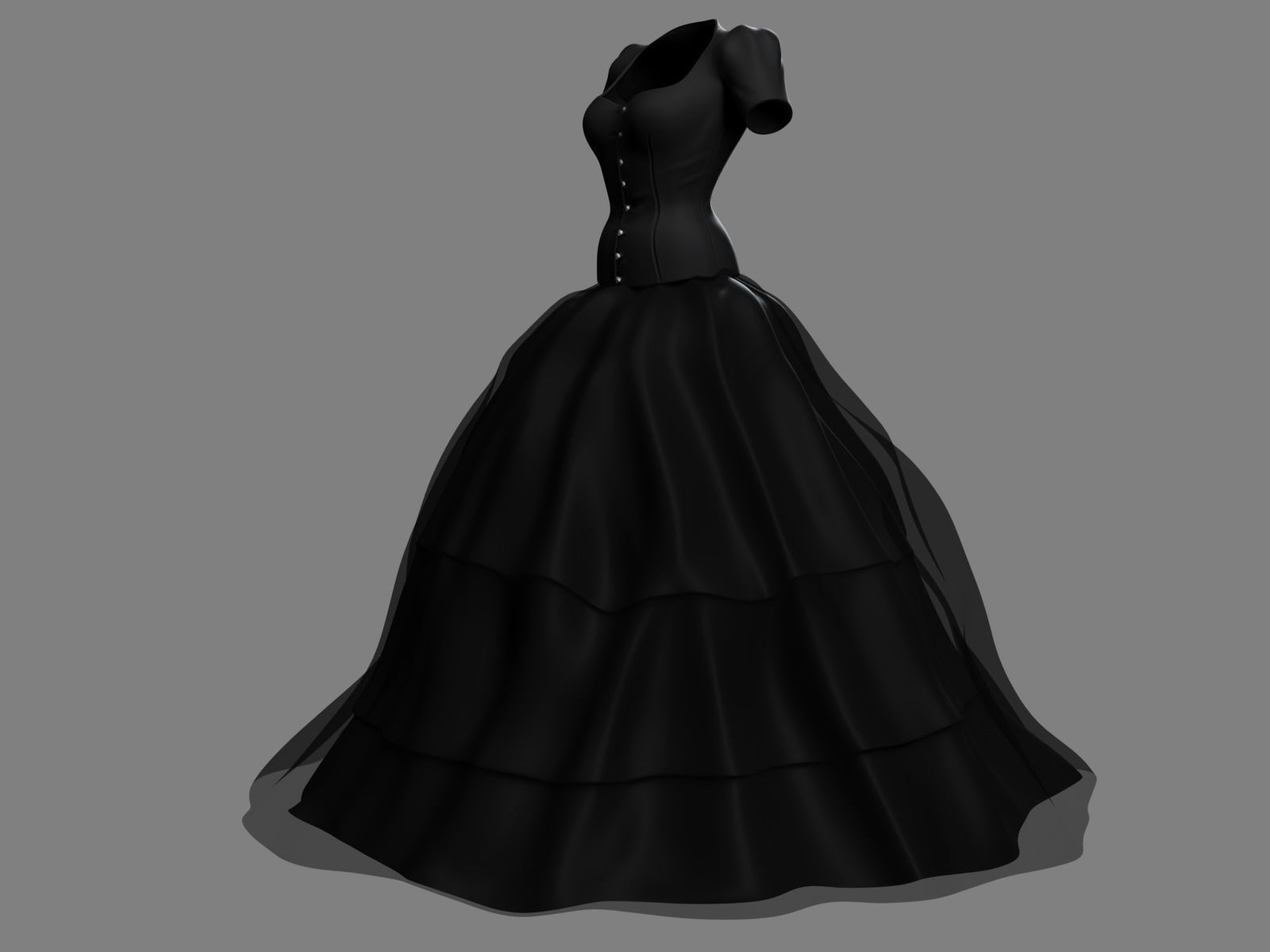 Victorian Gothic Dress 3 3D model | CGTrader