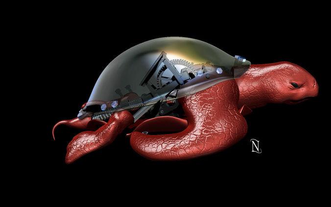 mechanical turtle by nefes 3d model ztl 1