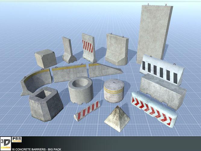 16 concrete barriers - big pack 3d model low-poly fbx tga 1