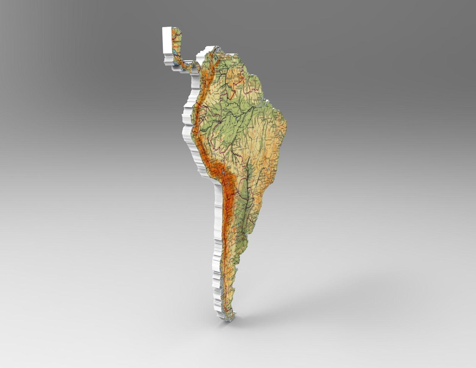 3d Map Of South America.Map Of South America 3d Model