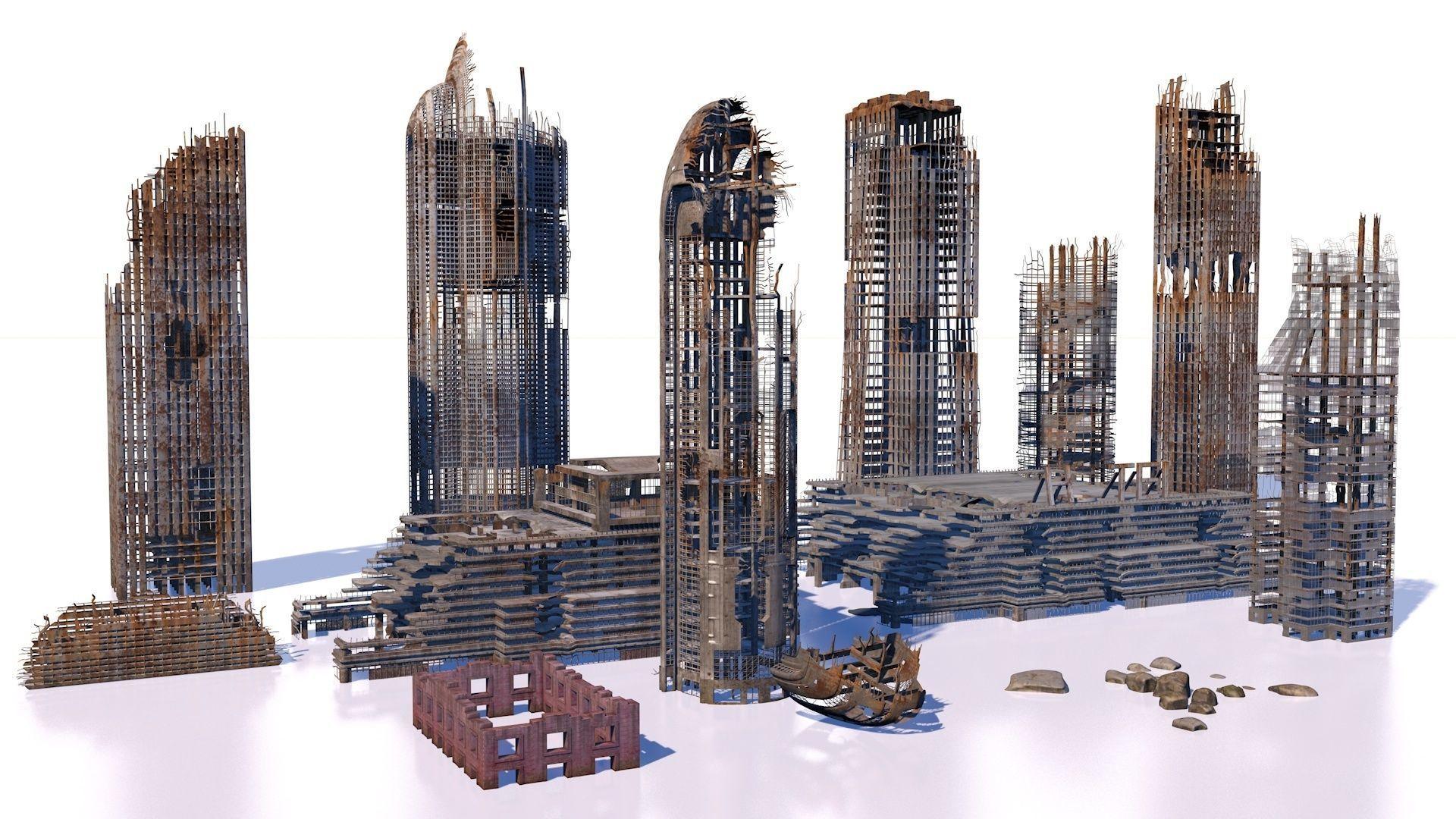 Buildings and skyscrapers in ruins