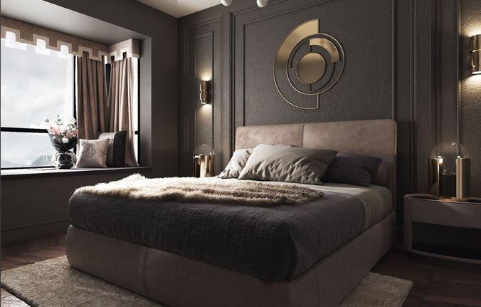 . modern luxury bedroom   3D model