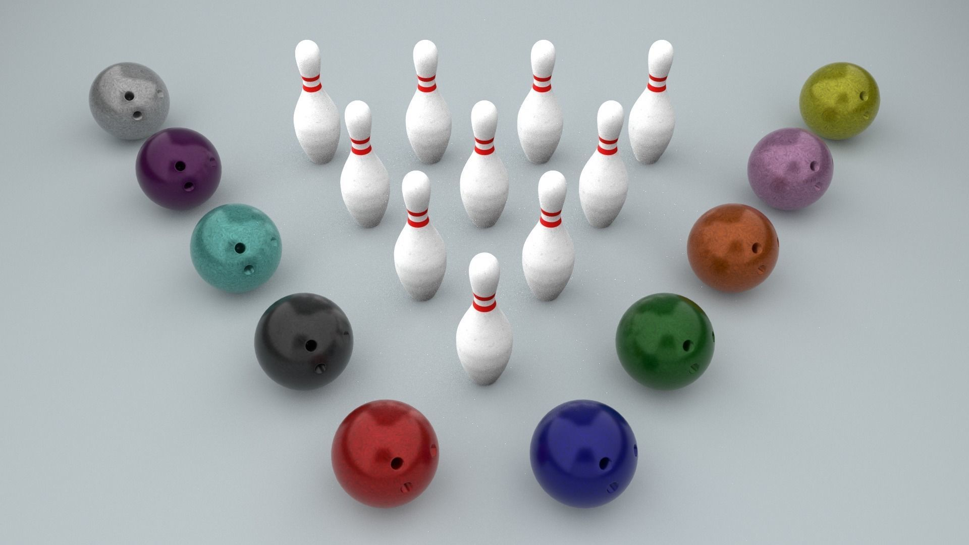 Bowling Ball and Pins - Low-poly PBR