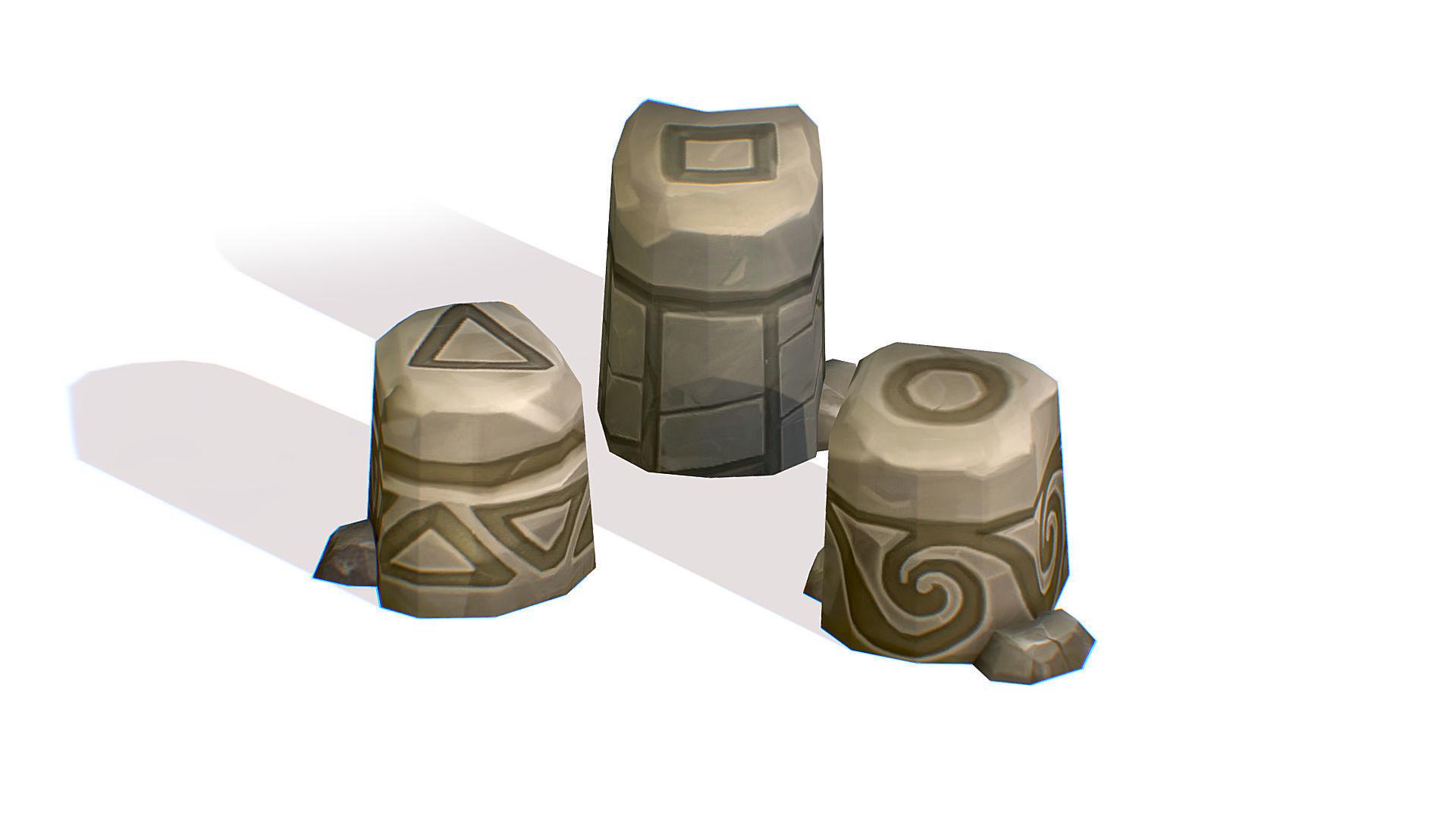 Handpaint Cartoon Stone Memorial Totem Symbol