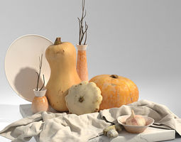 3D Set with pumpkins