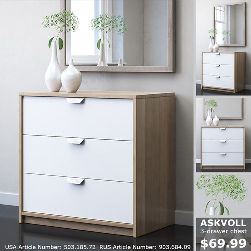 IKEA ASKVOLL 3-drawer Chest 3D