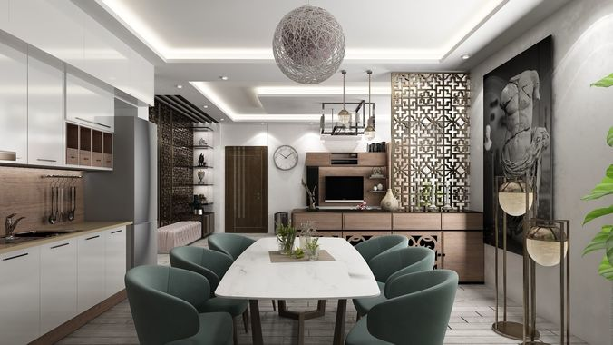 Full Detailed Living Room Hall With Kitchen 3d Model 1