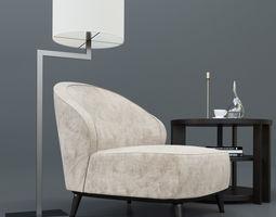 Casamilano Dhora armchair Jackie lamp Lugano table 3D