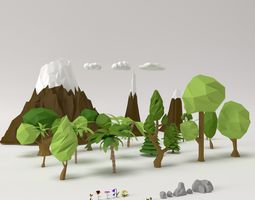 Low poly Trees Flowers Grass Rocks Clouds and 3D model