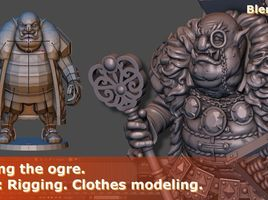 Creating the Ogre. Part 2: Rigging. Clothes modeling. Modeling in Blender