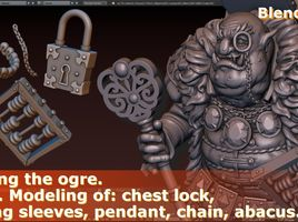 Creating the ogre. Part 5. Modeling of: chest lock, framing sleeves, pendant, chain, abacus